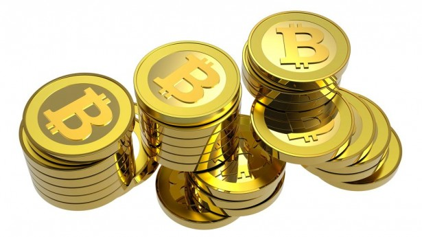 A pile of Bitcoins