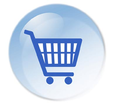 A blue bubble showing and online shopping cart