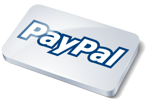 A shiny PayPal logo on silver tablet