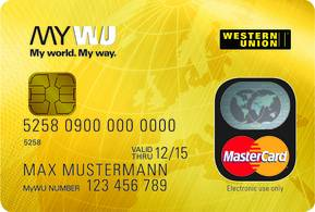 A golden card with Western Union brand