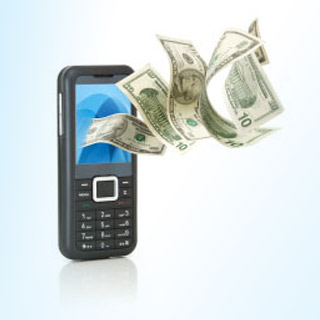 A phone with money coming out