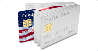 An EMV card with the US flag on it