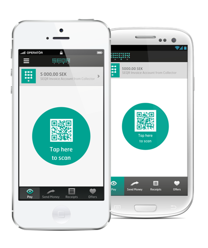 A mobile phone with QR code payment