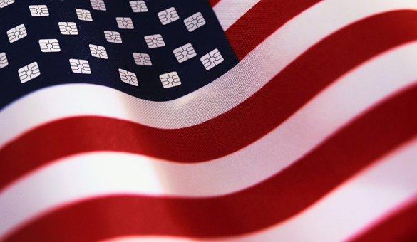 An American flag with chip cards on it.