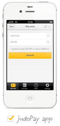 The Judopay app on a mobile phone