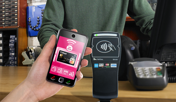 A payments with a phone at an NFC reader