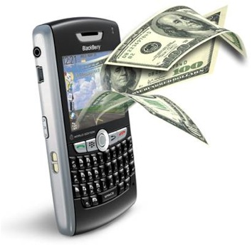 A BlackBerry phone with money coming out of it