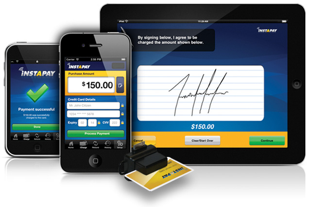 A mobile phone and tablet taking mobile payments