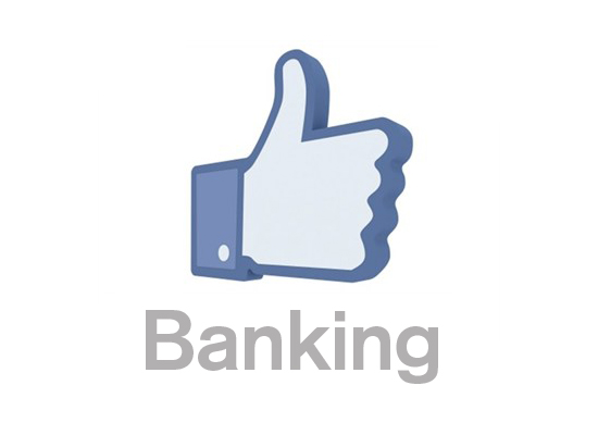 "A facebook ""like"" above the word Banking"