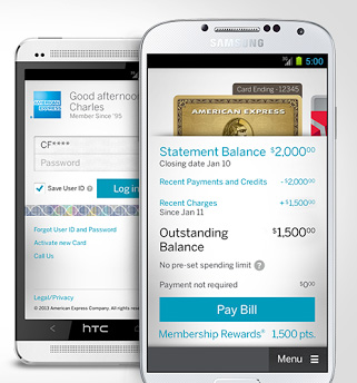 Amex cards on a mobile phone