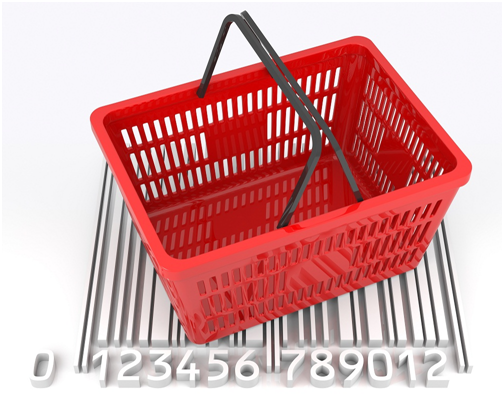 A basket on top of a barcode for Point of Sale transactions