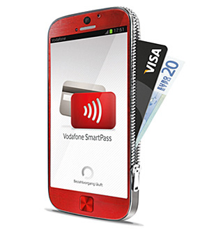 A smartphone with contactless enables Visa card through NFC SIM