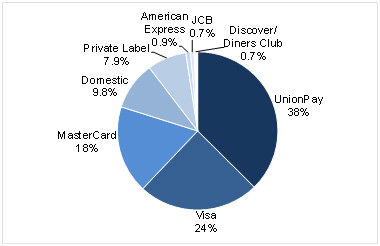 A chart showing Share of Payment Cards Worldwide by Scheme 2013
