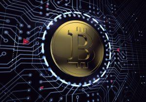 A bitcoin in a digital surrounding