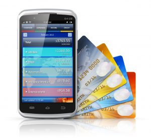Mobile banking, business finance and making money concept: modern metal black glossy touchscreen smartphone with personal wallet application and group of color credit cards isolated on white background with reflection effect