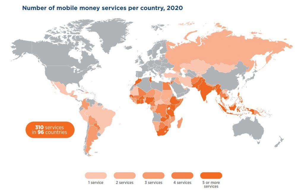 Number of mobile money services per country