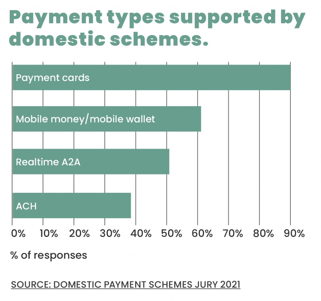 Payment types supported by domestic schemes